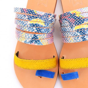 Fos Sandals-Turquoise Suede | oumies.gr