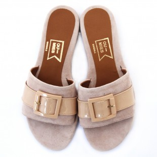 Fos Sandals-Nude Pink Suede | oumies.gr